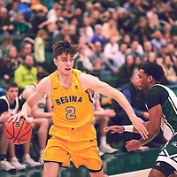 4th year guard, Samuel Hillis (2) of the Regina Cougars during the Men's Basketball Home Game on Fri Feb 01 at Centre for Kinesiology,Health and Sport. Credit: Arthur Ward/Arthur Images