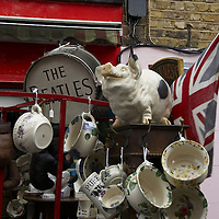 Busy stalls in Portobello Road market, London