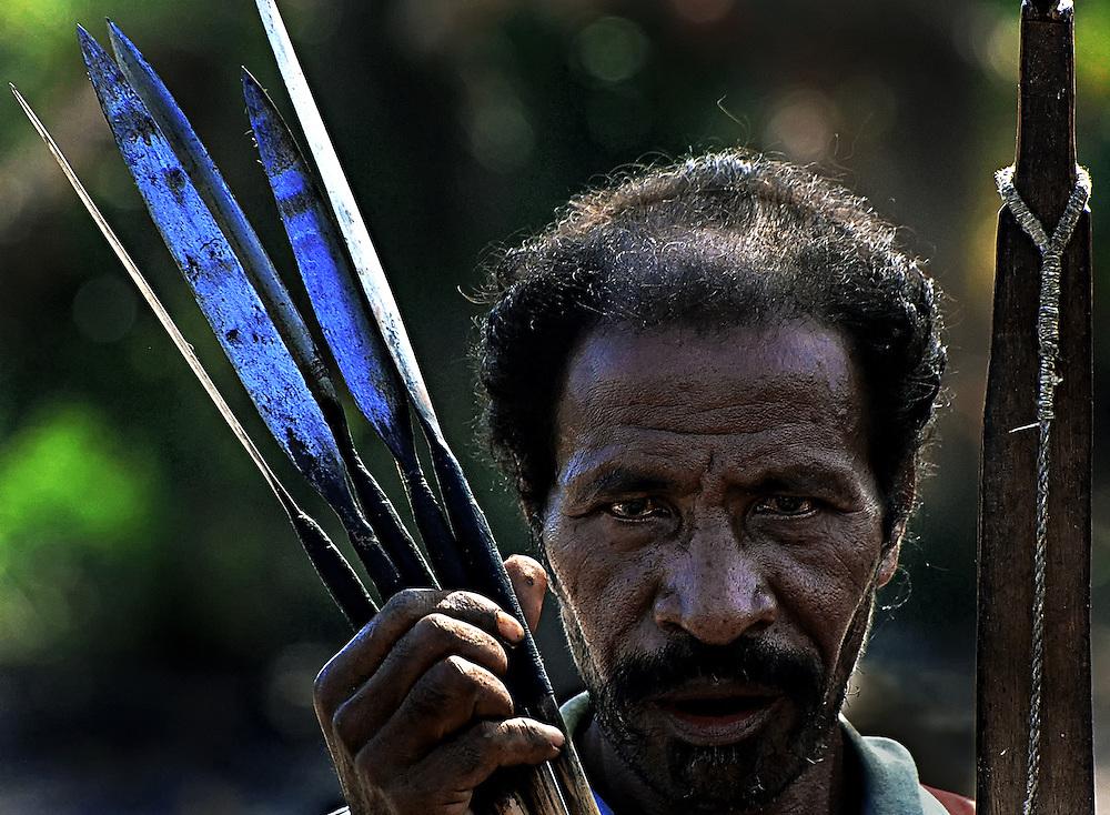 A dear hunter on Lembata Island, Indonesia.