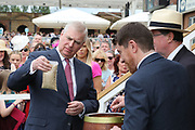 York Racecourse Patron His Royal Highness The Duke Of York KG assists in buryng a Time Capsule to mark the Diamond Jubilee of the John Smiths Cup during the John Smiths Diamond Cup Meeting at York Racecourse, York, United Kingdom on 13 July 2019.