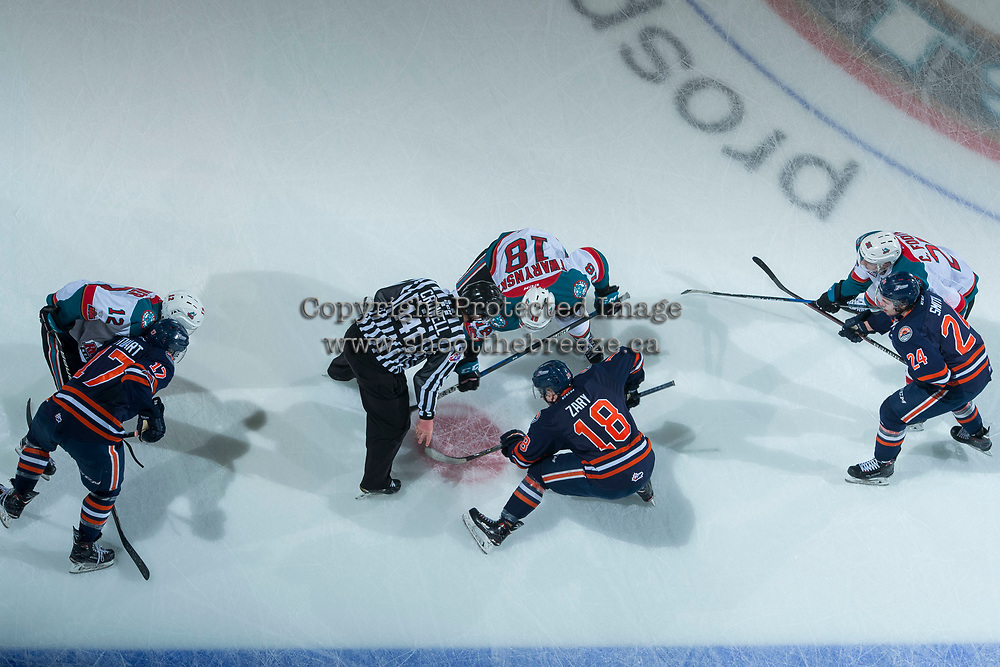 KELOWNA, CANADA - FEBRUARY 24:  The Kelowna Rockets face off against the Kamloops Blazers on February 24, 2018 at Prospera Place in Kelowna, British Columbia, Canada.  (Photo by Marissa Baecker/Shoot the Breeze)  *** Local Caption ***