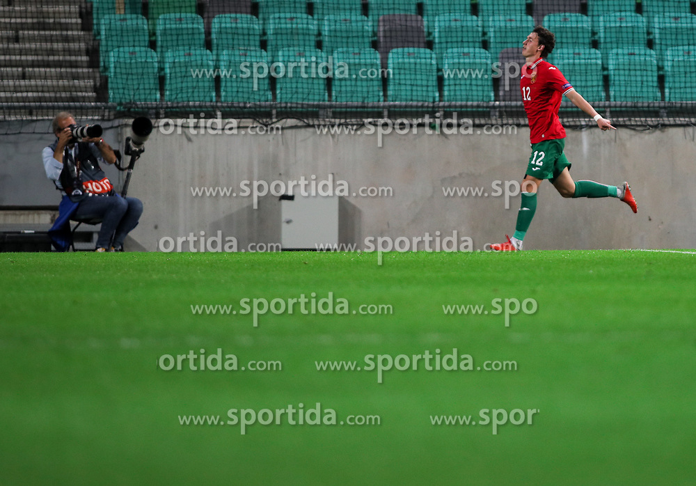 Bozhidar Kraev of Bulgaria celebrates after scoring his second goal during football match between National Teams of Slovenia and Bulgaria in Final Tournament of UEFA Nations League 2019, on September 6, 2018 in SRC Stozice, Ljubljana, Slovenia. Photo by Morgan Kristan / Sportida