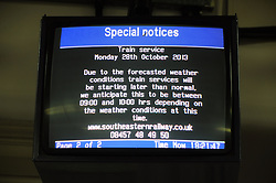 © Licensed to London News Pictures. 27/10/2013<br /> Weather warning on TV screens .<br /> Southeastern Trains weather warning this evening at Orpington train station in Greater London.  Special notices have been put up at Orpington station warning passengers of rail disruptions due to storm St Jude.<br /> Photo credit :Grant Falvey/LNP