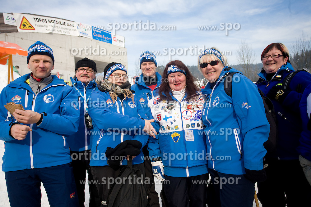 Fans of Finland at Ski Jumping at World Winter Masters games Slovenia Bled 2010, on January 28, 2010 in Ziri, Slovenia.  (Photo by Vid Ponikvar / Sportida)