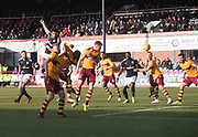 24th February 2018, Dens Park, Dundee, Scotland; Scottish Premier League football, Dundee versus Motherwell; Sofien Moussa of Dundee fires an effort narrowly wide of goal