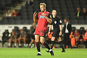 Grimsby Town striker Charles Vernam (18) shows his frustration during the EFL Sky Bet League 2 match between Milton Keynes Dons and Grimsby Town FC at stadium:mk, Milton Keynes, England on 21 August 2018.
