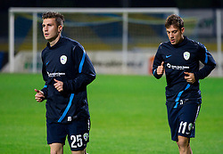Rok Elsner and Goran Cvijanovic during practice session of Slovenian National football team prior to the friendly match against Former Yugoslav republic of Macedonia on November 12, 2012 in Domzale, Slovenia. (Photo By Vid Ponikvar / Sportida)