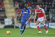 Souleymane Doukara (Leeds United) and Stephen Kelly (Rotherham United) during the EFL Sky Bet Championship match between Rotherham United and Leeds United at the New York Stadium, Rotherham, England on 26 November 2016. Photo by Mark P Doherty.