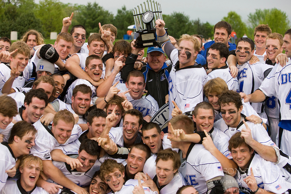 The Duke Men's Lacrosse team celebrates winning the 2008 ACC Tournament.  The #2 ranked Duke Blue Devils defeated the #3 ranked Virginia Cavaliers 11-9 in the finals of the Men's 2008 Atlantic Coast Conference tournament at the University of Virginia's Klockner Stadium in Charlottesville, VA on April 27, 2008.