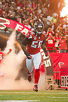 20 January 2013: Linebacker (56) Sean Witherspoon of the Atlanta Falcons enters the field during player introductions before the San Francisco 49ers 28-24 victory over the Falcons in the NFC Championship Game at the Georgia Dome in Atlanta, GA.