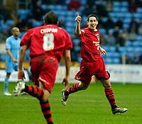 Photo: Ed Godden/Sportsbeat Images.<br />Coventry City v Cardiff City. Coca Cola Championship. 10/02/2007. Cardiff's Peter Whittingham celebrates scoring.
