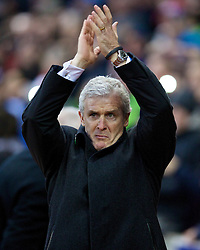 STOKE-ON-TRENT, ENGLAND - Sunday, January 12, 2014: Stoke City's manager Mark Hughes before the Premiership match against Liverpool at the Britannia Stadium. (Pic by David Rawcliffe/Propaganda)