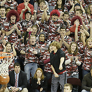 South Carolina students celebrate as they watch Dominique Archie's shot, bottom left, fall through the net during first-half action on Wednesday, Jan. 21, 2009 in Columbia, S.C. (Travis Bell/Sideline Carolina)