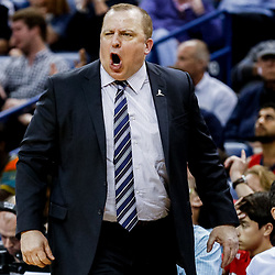Mar 19, 2017; New Orleans, LA, USA; Minnesota Timberwolves head coach Tom Thibodeau against the New Orleans Pelicans during the second half of a game at the Smoothie King Center. The Pelicans defeated the Timberwolves 123-109. Mandatory Credit: Derick E. Hingle-USA TODAY Sports