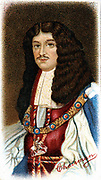 Charles II (1630-1685) King of Great Britain and Ireland from 1660 after restoration of the monarchy. Chromolithograph after portrait by John Greenhill.