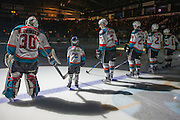 KELOWNA, CANADA - JANUARY 28:  Pepsi Player of the game in the lineup with Michael Herringer #30 of the Kelowna Rockets, Lucas Johansen #7 of the Kelowna Rockets, Nolan Foote #29 of the Kelowna Rockets, Devante Stephens #21 of the Kelowna Rockets, Dillon Dube #19 of the Kelowna Rockets at the Kelowna Rockets game on January 27, 2017 at Prospera Place in Kelowna, British Columbia, Canada.  (Photo By Cindy Rogers/Nyasa Photography,  *** Local Caption ***