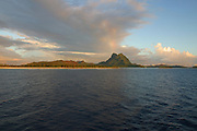 Sunset, rainbow,Mt. Otemanu, Bora Bora, French Polynesia<br />