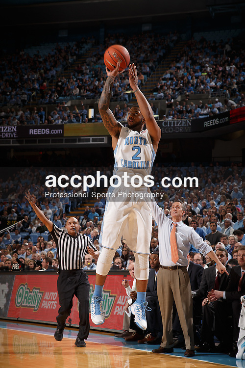 CHAPEL HILL, NC - JANUARY 18: Leslie McDonald #2 of the North Carolina Tar Heels shoots a three-point shot during a game against the Boston College Eagles on January 18, 2014 at the Dean E. Smith Center in Chapel Hill, North Carolina. North Carolina won 82-71. (Photo by Peyton Williams/UNC/Getty Images) *** Local Caption *** Leslie McDonald
