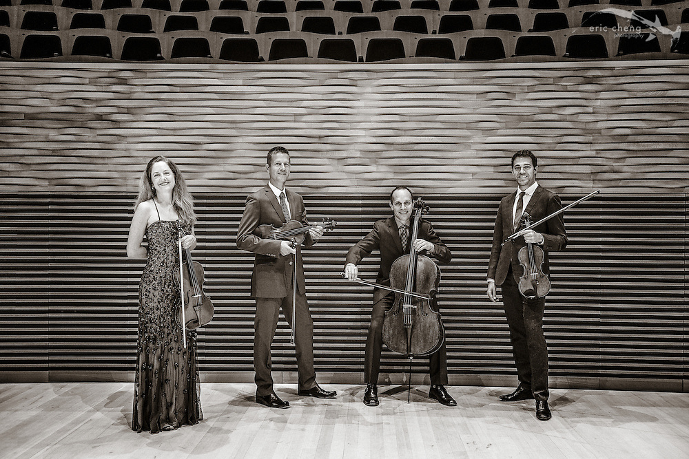 "Portrait: St. Lawrence String Quartet (SLSQ), Bing Concert Hall, Stanford, California. Credit ""Eric Cheng / echengphoto.com""."
