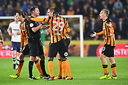 Hull City defender Michael Dawson (21) takes issue with ref  during the EFL Sky Bet Championship match between Hull City and Preston North End at the KCOM Stadium, Kingston upon Hull, England on 26 September 2017. Photo by Ian Lyall.