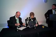 NICK KENYON; DEBORAH BORDA, LA Philharmonic reception, Fountain room, Barbican. 27 January 2011 -DO NOT ARCHIVE-© Copyright Photograph by Dafydd Jones. 248 Clapham Rd. London SW9 0PZ. Tel 0207 820 0771. www.dafjones.com.