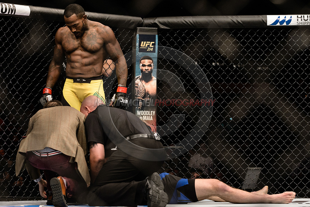 "GLASGOW, UNITED KINGDOM, JULY 16, 2017: Khalil Rountree Jr. (yellow trunks) versus Paul Craig (blue/black shorts) during ""UFC Fight Night Glasgow: Nelson vs. Ponzinibbio"" inside the SSE Hydro Arena in Glasgow, Scotland on Sunday, July 16, 2017."