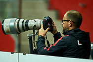 Warsaw, Poland - 2017 September 04: Photographer Lukasz Grochala (Cyfrasport Agency) works during soccer match Poland v Kazakhstan - FIFA 2018 World Cup Qualifier at PGE National Stadium on September 04, 2017 in Warsaw, Poland.<br /> <br /> Adam Nurkiewicz declares that he has no rights to the image of people at the photographs of his authorship.<br /> <br /> Picture also available in RAW (NEF) or TIFF format on special request.<br /> <br /> Any editorial, commercial or promotional use requires written permission from the author of image.<br /> <br /> Mandatory credit:<br /> Photo by © Adam Nurkiewicz / Mediasport