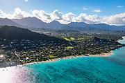 Aerial. Lanikai Beach, Kailua, Oahu, Hawaii