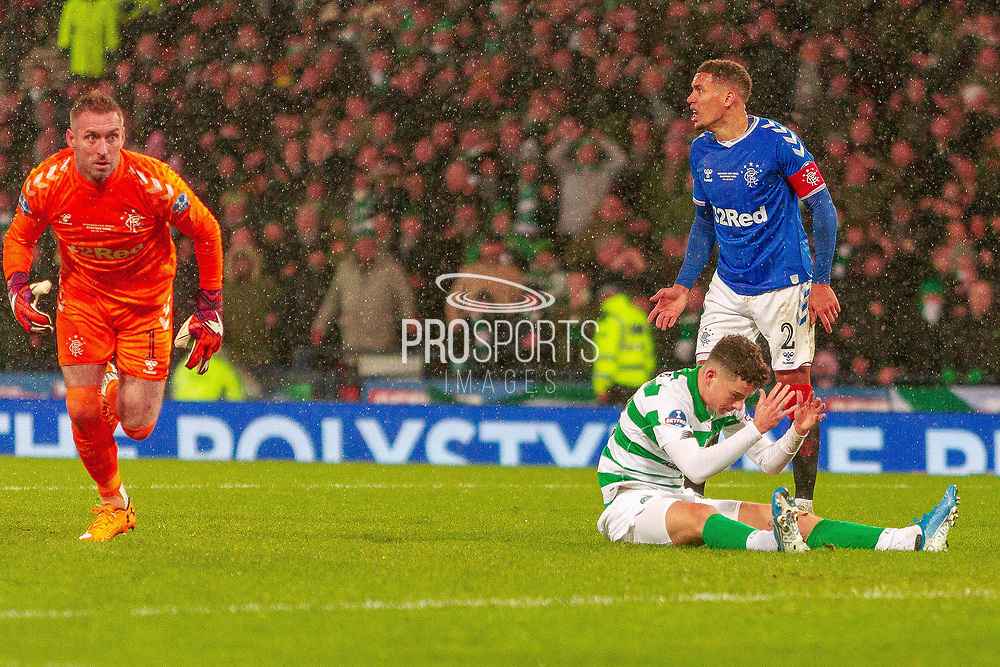 Mikey Johnston of Celtic FC comes close to doubling his sides lead, while Rangers Captain James Tavernier balls out his defence during the Betfred Scottish League Cup Final match between Rangers and Celtic at Hampden Park, Glasgow, United Kingdom on 8 December 2019.