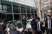 Prince William, The Duke of Cambridge, talks with Andy Palmer, the CEO of Aston Martin, during a visit to Tsutaya book store in Daikanyama as Part of the GREAT Britain international marketing campaign, Tokyo, Japan. Saturday February 28th 2015. Prince William, who is travelling without his pregnant wife, Kate Middleton, is making his first visit to Japan on a 4 day tour before travelling onto China on Sunday