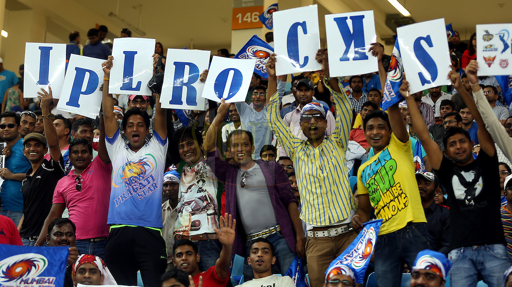 Fan's Enjoys during match 20 of the Pepsi Indian Premier League Season 2014 between the Mumbai Indians and the Sunrisers Hyderabad held at the Dubai International Stadium, Dubai, United Arab Emirates on the 30th April 2014<br /> <br /> Photo by Sandeep Shetty / IPL / SPORTZPICS