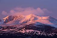 Snow-capped mountain (Lochnagar) at dawn, Scotland