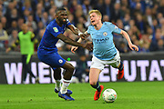 Kevin De Bruyne (17) of Manchester City goes down from the challenge by Antonio Rudiger (2) of Chelsea during the Carabao Cup Final match between Chelsea and Manchester City at Wembley Stadium, London, England on 24 February 2019.