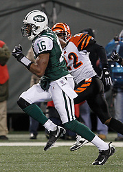 Jan 3, 2010; East Rutherford, NJ, USA; New York Jets wide receiver Brad Smith (16) runs for a 32 yard touchdown during the first half of their game against the Cinncinati Bengals at Giants Stadium.