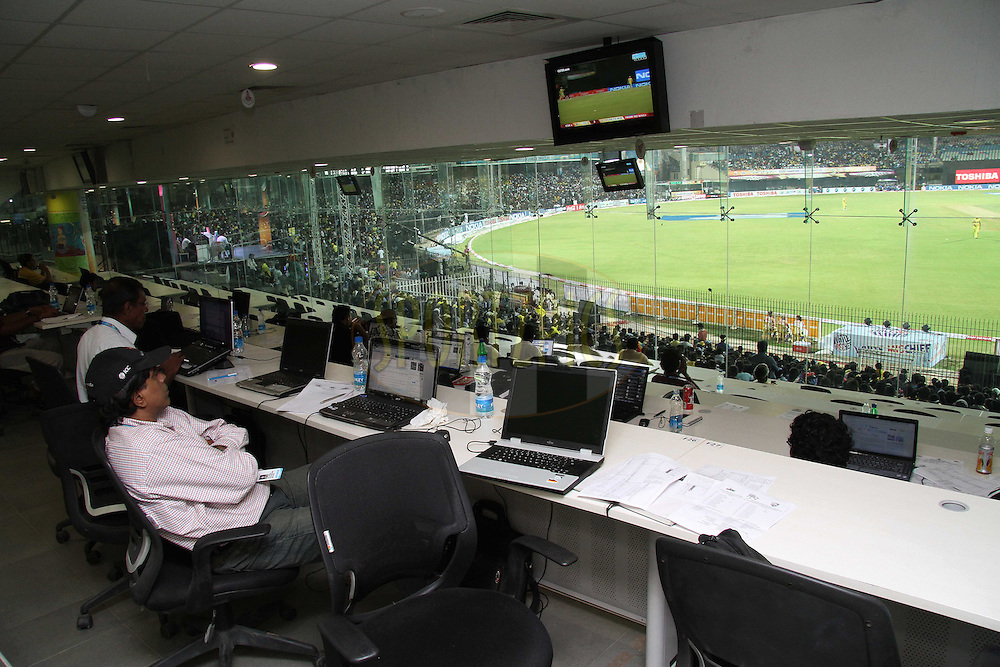 Media Centre during match 3 of the NOKIA Champions League T20 ( CLT20 )between the Chennai Superkings and the Mumbai Indians held at the M. A. Chidambaram Stadium in Chennai , Tamil Nadu, India on the 24th September 2011..Photo by Shaun Roy/BCCI/SPORTZPICS