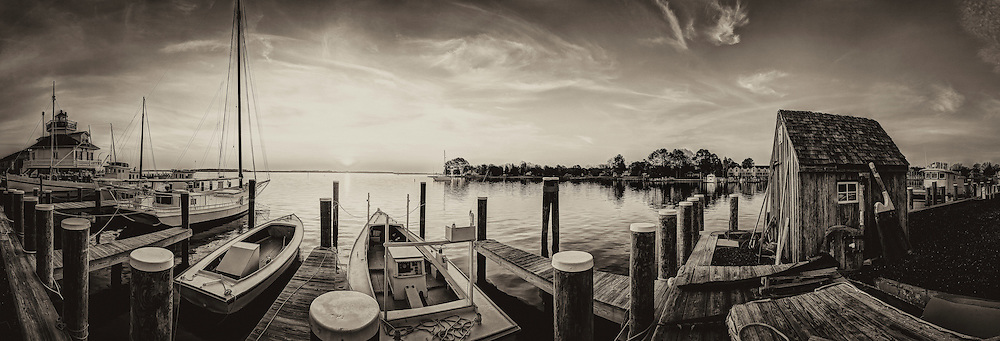sunrise panorama of the boat dock and light house at St Micheals Maryland