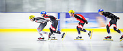Speed skaters race in Whitehorse, Yukon.