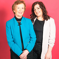 Former President of Ireland, Mary Robinson with Comedian, Maeve Higgins photographed by Ruth Medjber