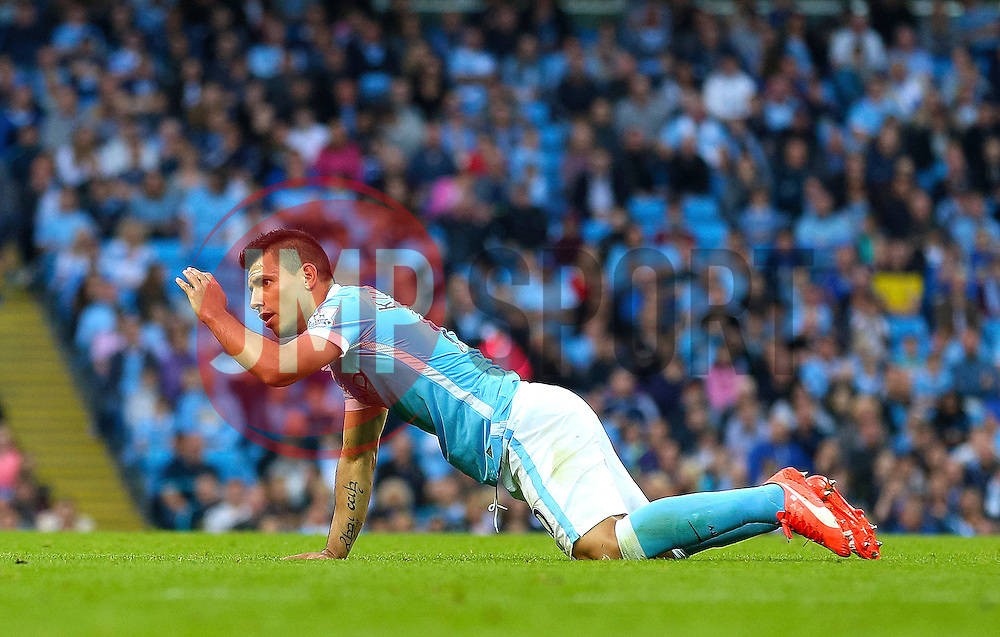 Sergio Aguero of Manchester City reacts after being fouled - Mandatory byline: Matt McNulty/JMP - 07966 386802 - 19/09/2015 - FOOTBALL - City of Manchester Stadium - Manchester, England - Manchester City v West Ham United - Barclays Premier League