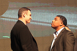 26.01.2010, Lanxess-Arena, Koeln, GER, Weltmeisterschaft Schwergewicht, Pressekonferenz Dr. Vitali Klitschko (GER) und .Odlanier Solis (Kuba) vor ihrem Kampf im Maerz, im Bild:  Dr. Vitali Klitschko  und Odlanier Solis schauen sich nicht in die Augen  EXPA Pictures © 2011, PhotoCredit: EXPA/ nph/  Mueller       ****** out of GER / SWE / CRO ******