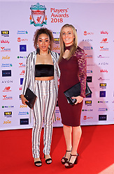 LIVERPOOL, ENGLAND - Thursday, May 10, 2018: Liverpool FC Ladies' Jessica Clarke and Kate Longhurst arrive on the red carpet for the Liverpool FC Players' Awards 2018 at Anfield. (Pic by David Rawcliffe/Propaganda)