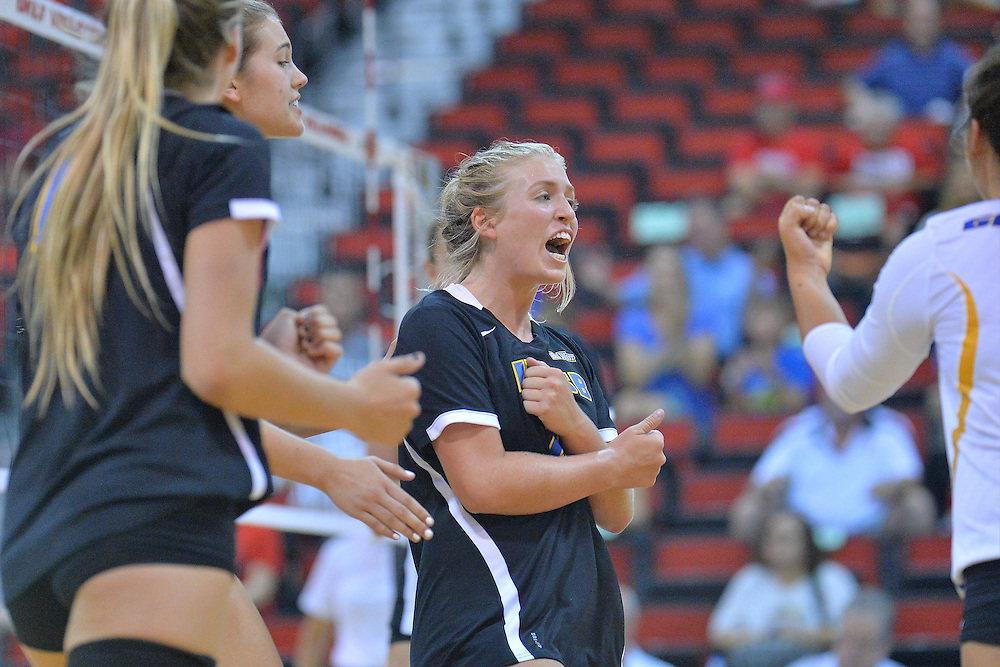 August 26, 2016; Las Vegas, Nev.; UC Santa Barbara outside hitter Megan Rice (7) celebrates after winning a point during a match between the UNLV Lady Rebels and UC Santa Barbara Gauchos. UNLV defeated UCSB 3-0.