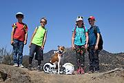 Youngsters and a dog pose with Los Angeles Chargers (left) and Los Angeles Rams helmets with the Hollywood sign and Mount Lee as a backdrop in Los Angeles, Wednesday, Sept. 19, 2018. After more than two decades without an NFL team, the Rams relocated from St. Louis in 2016 and the Chargers moved in 2017. The teams will share a stadium financed by Rams owner Stan Kroenke at the LA Stadium and Entertainment District in Inglewood, Calif. scheduled to be completed in 2020.