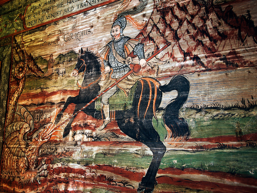 Details of the paintings in the wooden church in Hervartov, Slovakia.