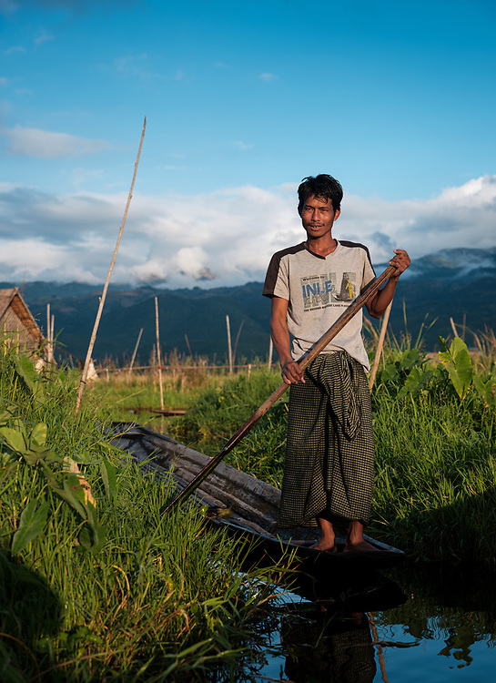 INLE LAKE, MYANMAR - CIRCA DECEMBER 2017: Farmer of Inle Lake, Myanmar