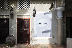 Art works on display at XVA gallery and hotel in Bastakiya old district of Dubai United Arab Emirates