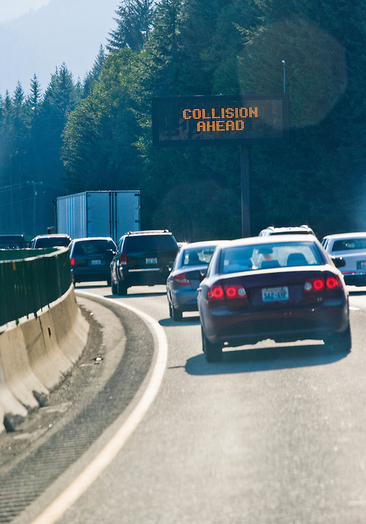 A traffic jam on Interstate 90 in the Central Cascades of Washington State, USA.