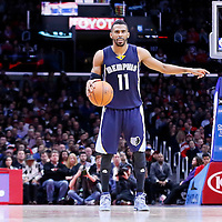 23 February 2015: Memphis Grizzlies guard Mike Conley (11) sets the offense during the Memphis Grizzlies 90-87 victory over the Los Angeles Clippers, at the Staples Center, Los Angeles, California, USA.
