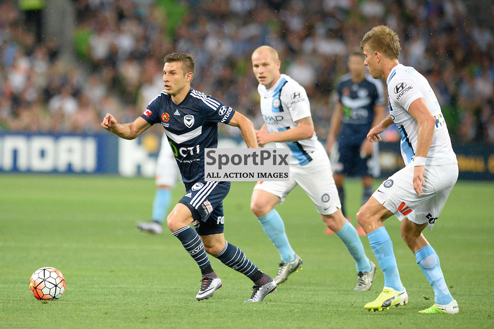 Kosta Barbarouses of Melbourne Victory, Aaron Mooy of Melbourne City - Hyundai A-League, 19th December 2015, RD11 match between Melbourne City FC v Melbourne Victory FC at Aami Park in a 2:1 win to City in front of a 23,000+ crowd. Melbourne Australia. © Mark Avellino | SportPix.org.uk