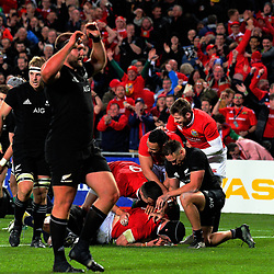 Lions players celebrate Sean O'Brien's try during the 2017 DHL Lions Series rugby union match between the NZ All Blacks and British & Irish Lions at Eden Park in Auckland, New Zealand on Saturday, 24 June 2017. Photo: Dave Lintott / lintottphoto.co.nz